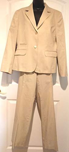 Tan Khaki Women's Professional Suit by Brooks Brothers Size 14, Comfortable/Professional Stretch, Brooks Brothers Tan Suit Jacket & Wide Pant Legs, Tan Khaki 2 Button Blazer Jacket & Slacks, Brooks -