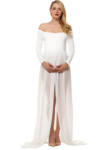 Amoretu Shoulder Split Front Maxi Maternity Photography Dress For Photo Shoot