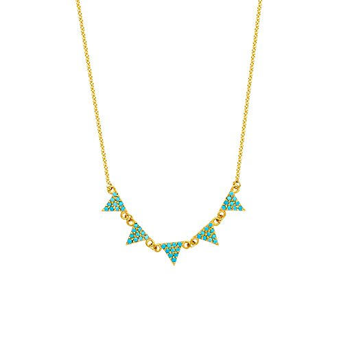 14k Yellow Gold Adjustable 5 Triangles Necklace With 1m Nano Simulated Turquoise - 18 Inch