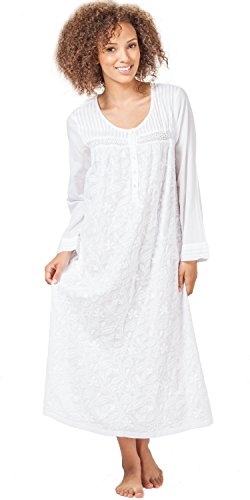 e9ca933a994 La Cera Boutique Embroidered Long Sleeve Cotton Nightgown in Floral White ( Large (14-16)