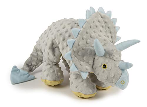 goDog, Dinos Frills, Squeaker Dog Toy, Chew Resistant, Durable Plush, Soft, Tough, Reinforced Seams, Gray, Extra Large