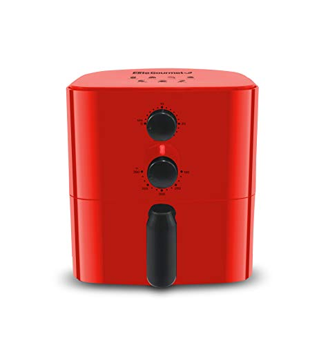 Maxi-Matic Elite Gourmet Personal Compact Space Saving Electric Hot Air Fryer Oil-Less Healthy Cooker, Timer & Temperature Controls, PFOA/PTFE Free, 700-Watts with Recipes, 1 Quart, Red
