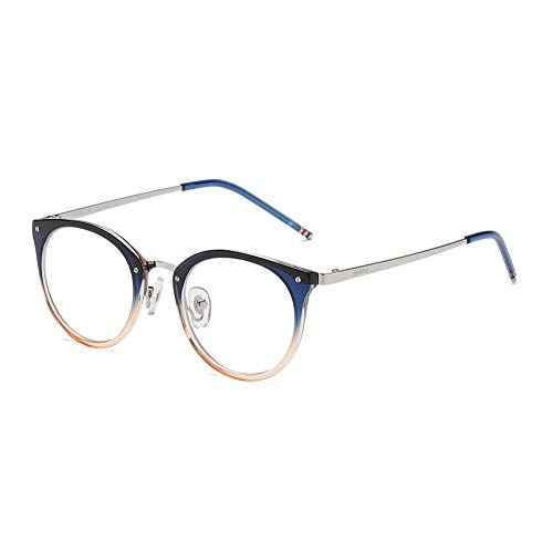 DONNA Stylish Clear Lens Frame Glasses Samll Circle Blue Light Blocking for Computer ()