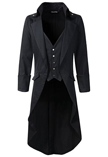 DarcChic Mens Gothic Tailcoat Jacket Black Steampunk VTG Victorian High Collar Coat (XXL, Black)