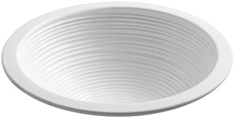 Kohler K-14287-H7-0 Twirl Design on Camber Undercounter Lavatory with Glazed Underside, White - 0 White Camber