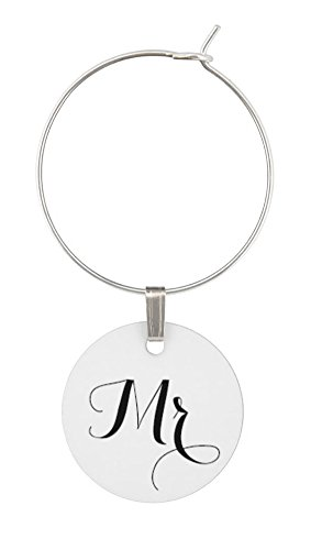 TJ Formal Wine Charms Wedding Gift - Mr. and Mrs. Set - Rings Hoops Tags Shower Favors by TJ Formal (Image #1)