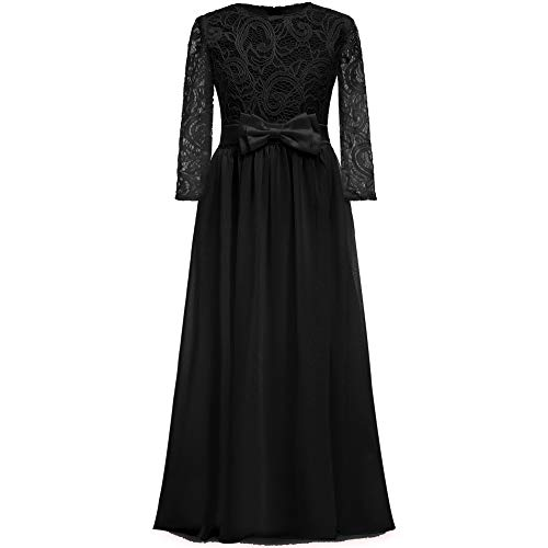 2018 Spring Flower Girl for Wedding 3/4 Sleeves Kids Lace Pageant First Communion Dress (12, Black) ()
