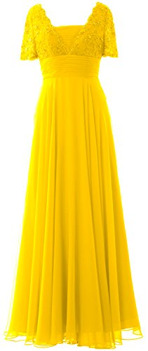 MACloth Women Short Sleeves Mother of the Bride Dress Lace Formal Evening Gown Amarillo