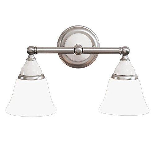 Hudson Valley Lighting Porcelain 2-Light Vanity Light - Satin Nickel Finish with Opal Matte Glass Shade