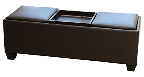 Faux Leather Rectangular Coffee Espresso Storage Ottoman with 3 Serving Trays Tops