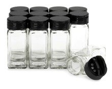 Square Glass Spice Jars - Glass clear square spice jars with sleek Black sifter lid 4oz in case of 12 by Nicole Jean