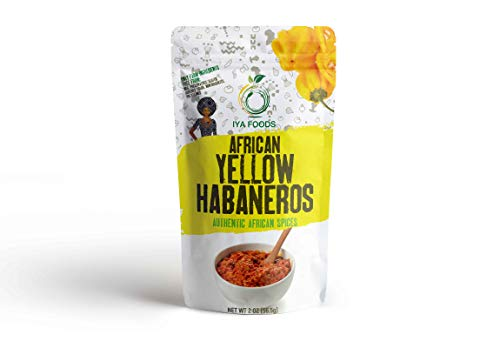 Iya Foods African Yellow Habaneros 2 ounces, Kosher Certified, No Preservatives, No Added Color, No Additives, No MSG ( Yellow Pepper) ()