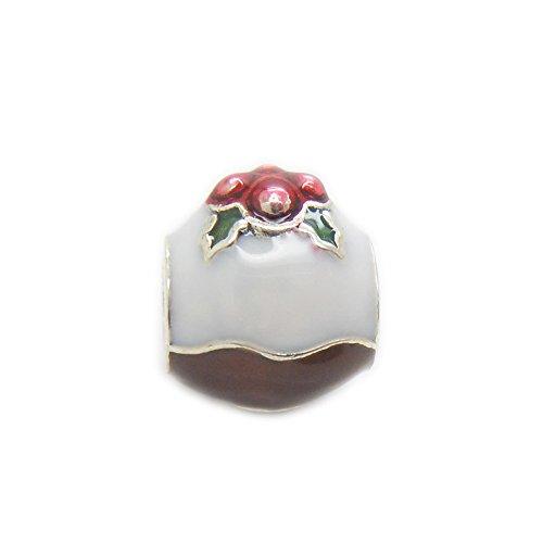 Pudding Charm (FJCharm Christmas Pudding White & Brown Enamel Bead 925 Silver Fits Pandora Charms)