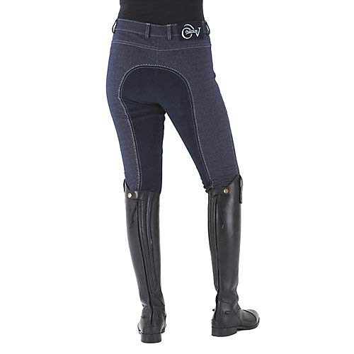 Ovation Women's Euro Melange Full Seat Cotton Breeches, Indigo, 32 Regular
