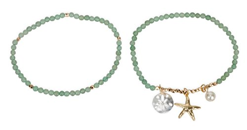 SPUNKYsoul Anklets Starfish Sand Dollar for Women Collection (Aventurine)