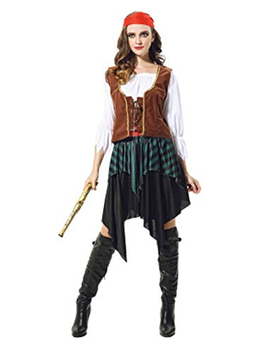 GRACIN Women's Halloween Pirate Maiden Costume, 5 PCS Adult Buccaneer Cosplay (Size S, Brown)