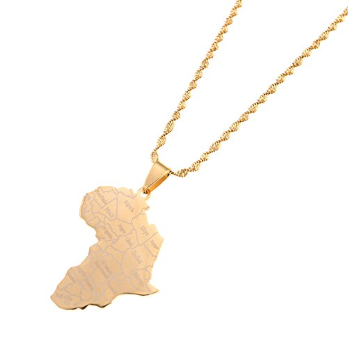 Africa Map Flag Pendant Chain African Maps Jewelry Country Flags (Gold 2)