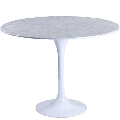 "Modway 36"" Eero Saarinen Style Tulip Dining Table with White Marble Top"