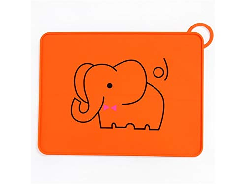 Yuchoi Contemporary Animal Pattern Baby Plate Silicone Baby Plates Stay Put Feeding Plate Dinner Plate Child Silicone Mat for Feeding Placemat for Most Highchair Trays(Elephant) by Yuchoi