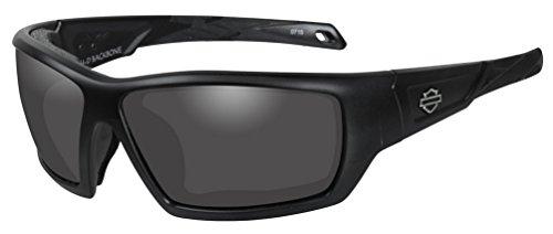 Harley-Davidson Men's Backbone Sunglasses, Gray Lens / Matte Black Frame - Large X Heads Sunglasses Wiley