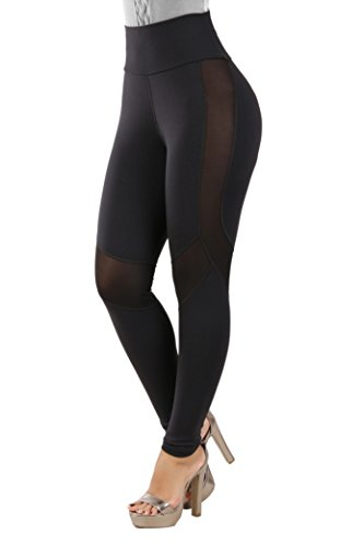 Curvify Double Layered Shapewear Leggings | Body Slimming Leggings Tummy Control (L116 Black M)