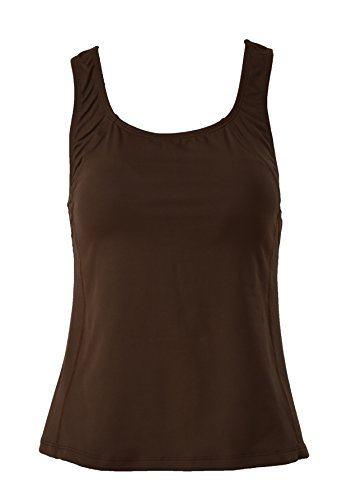 - Private Island Hawaii Women UV Rash Guard Shoulder Signiture Tankini Top Under Bra Sun Protection Swimming Suit Brown XXX-Large