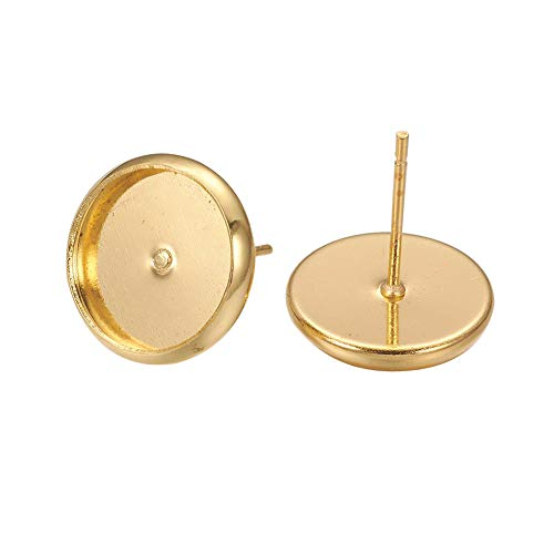 (Kissitty 60Pcs Nickel Free Golden Brass Blank Round Bezel Tray Cabochon Setting Post Stud Earrings 10mm Inner Diameter)