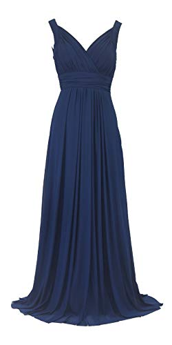 Licoco Women Beading Straps Ruched Long Formal Prom Gowns Bridesmaid Dress (235Navy,3XL) (Islamic Prom Dresses)