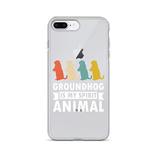 iPhone 7 Plus/8 Plus Pure Clear Case Crystal Clear Cases Cover My Spirit Animal is Groundhog Vintage Woodchuck Transparent ()