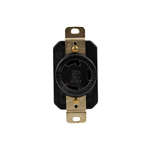 ENERLITES Industrial Grade 30A 125V Locking Receptacle, NEMA L5-30R, 2P, 3W, 66440-BK, Black 30a 125v Locking Receptacle
