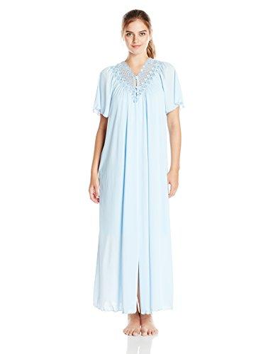 Shadowline Women's Beloved 54 Inch Flutter Sleeve Long Peignoir Robe, Blue, Medium