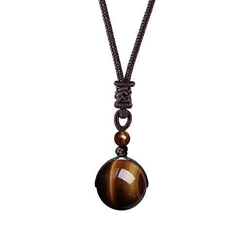 OK-STORE Natural Black Obsidian Rainbow Eyes Stone Necklace Pendant, 16mm Obsidian Bead with Woven Cotton Cord, Talisman Dedication of Wellness and Wealth (T-iger Eye 16mm)