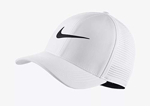 Nike 2018 Aerobill Classic 99 Tour Perforated Fitted Men's Cap Hat, White-Black, Small-Medium
