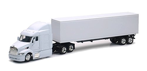 Shop72 Personalized Diecast Truck - 1:43 Scale Peterbilt 387 White Cab & Trailer - Add Your Company Logo or Custom Designs - Great Gift for Truck (Freightliner Box Truck)
