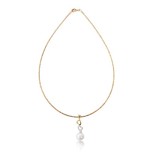 10K Yellow Gold Omega Choker Handcrafted with Stunning White Freshwater Pearl Linked Hearts CZ Diamond Pendant, Simple and Beautiful Drop Necklace, 15 Inch Chain with Lobster ()