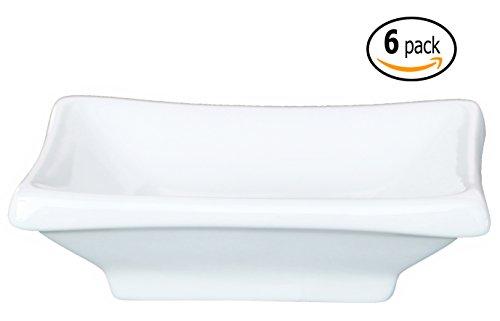 Ceramic Rectangular Sauce Dish and Pan Scraper, 4 Inch by 2.5 Inch, Bone Off-white (6)