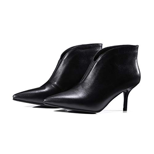Talons pour Femme Courtes Bottines Stiletto Pointus à Black nvCgdgW