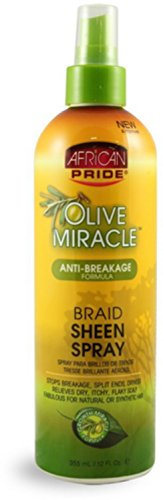 African Pride Olive Miracle Braid Sheen Spray, 12 oz (Pack of 6) African Pride Braid Spray