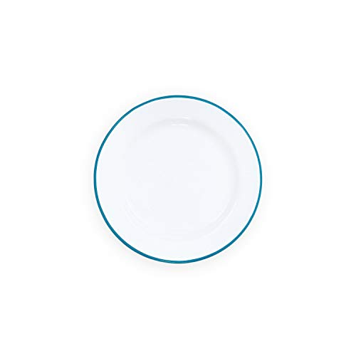 (Enamelware Flat Salad Plate, 8 inch, Vintage White/Turquoise (4))