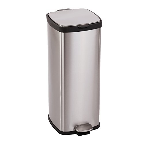 BestMassage Trash Bin With Lid For Home Office Barthroom Stainless-Steel Fingerprint-Resistant Step Trash Can Garbage Bin Removable Inner 8Gallon/30L