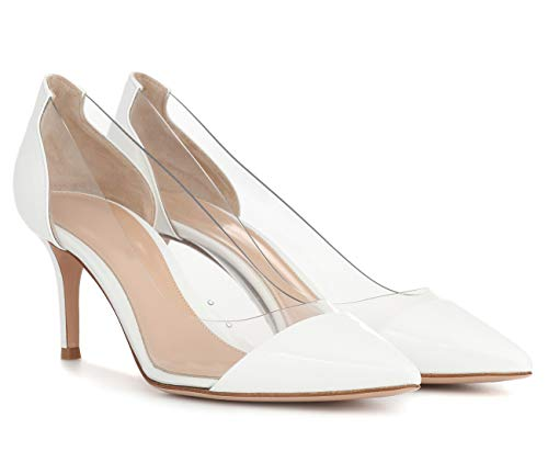 High Court Dress Heels White Wedding Ubeauty Toe 80mm Shoes Transparent Pumps Patent Women's Pointed Party wq5PPYxCS