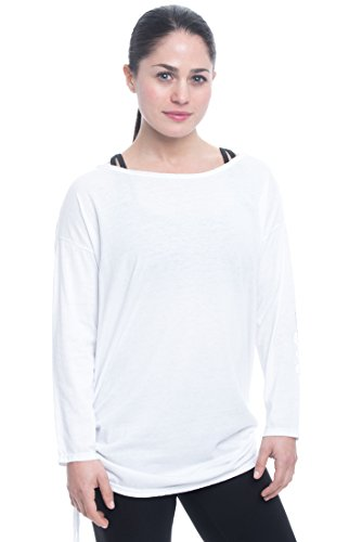 Gaiam Women's Bryn Slouchy Long Sleeve Relaxed Fit T - Bright White, Large