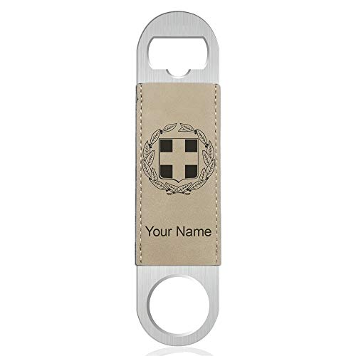 Bottle Opener, Coat of Arms Greece, Personalized Engraving Included (Faux Leather, Light Brown)