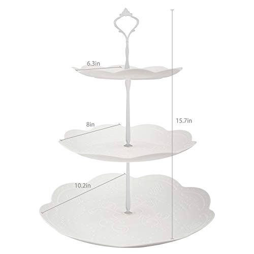 Lucky Will 3 Tier Cupcake Stand Plastic Tiered Tray Dessert Cakes Bread Display Tower Tray for Wedding Birthday Party Tea Party (White New Crown,Round)