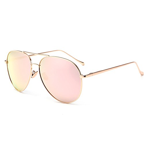 SUNGAIT Women's Lightweight Oversized Aviator sunglasses - Mirrored Polarized Lens (Rose Gold Frame/Pink Mirror Lens, - Mirror Lens Gold Sunglasses Aviator