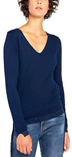BENANCY Women's Simple V-Neck Pullover Soft Knit Long Sleeve Sweater Top Navy Blue XXL