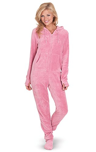 PajamaGram Womens Onesie with Hood - Adult Footie Pajamas, Pink, Medium / -