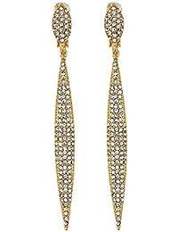 Earrings Grace Jun Bridal Rhinestone Crystal Big 3 Layer Geometric Style Clip Earrings Non Piercing For Women No Hole Ear Clip Hot Sale Choice Materials Clip Earrings