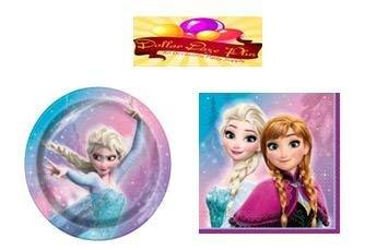 (Dollar Daze Plus Disney Frozen Party ware Kit, Includes 8 Dinner Plates &16 Napkins - 24 ct)