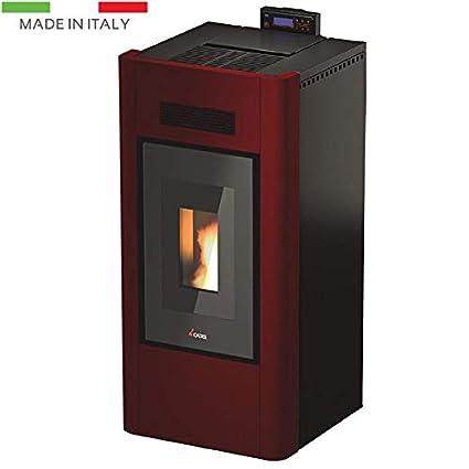 Idro Prince 3 – 16 KW – Metal Rojo Estufa de pellets Calefacción Estufa Casa